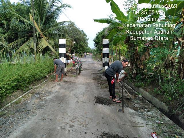 Jaga Keindahan Wilayah Binaan, Personel Jajaran Kodim 0208/Asahan Laksanakan GOtong-royong
