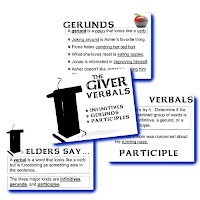 Using examples from the novel THE GIVER, students will learn about the verbals: infinitives, participles, and gerunds. They will practice locating them in sentences and telling the difference between them and normal verb phrases.