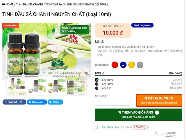 Tính năng Chọn màu, Kích thước và đổi giá bán trong Tinhdauonline Premium
