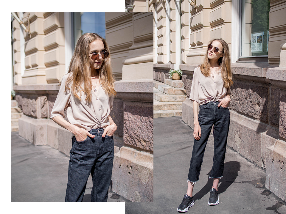 Fashion blogger summer outfit with beige top and cropped jeans - Muotibloggaaja, kesämuoti, asuinspiraatio, beige paita ja lyhytlahkeiset farkut