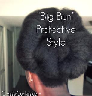 big bun natural hair protective style