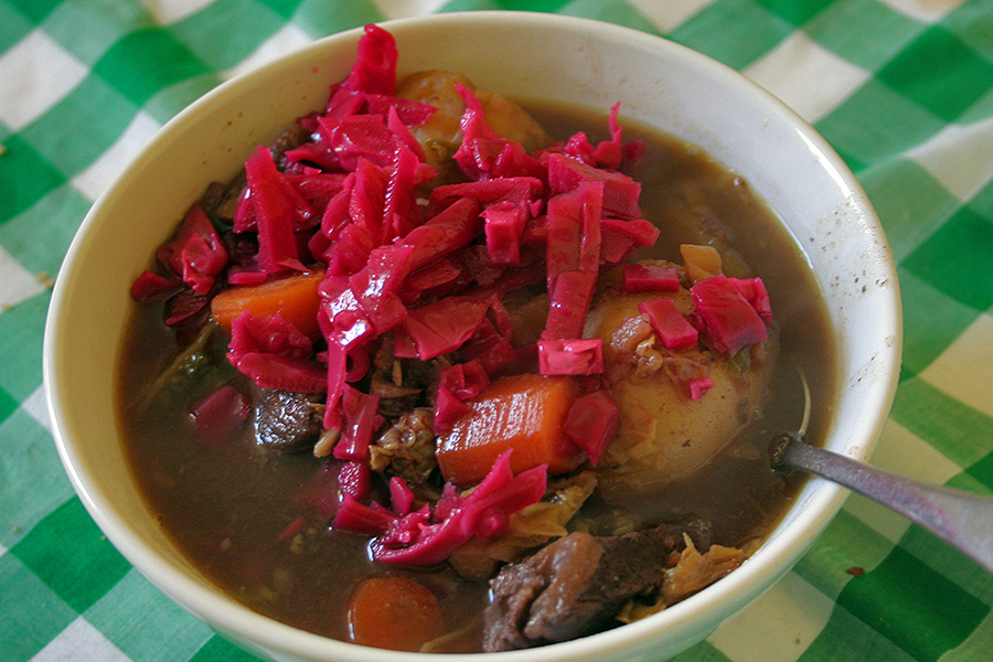 The Kitchen Front Scouse Recipe Ready to eat with pickled Cabbage