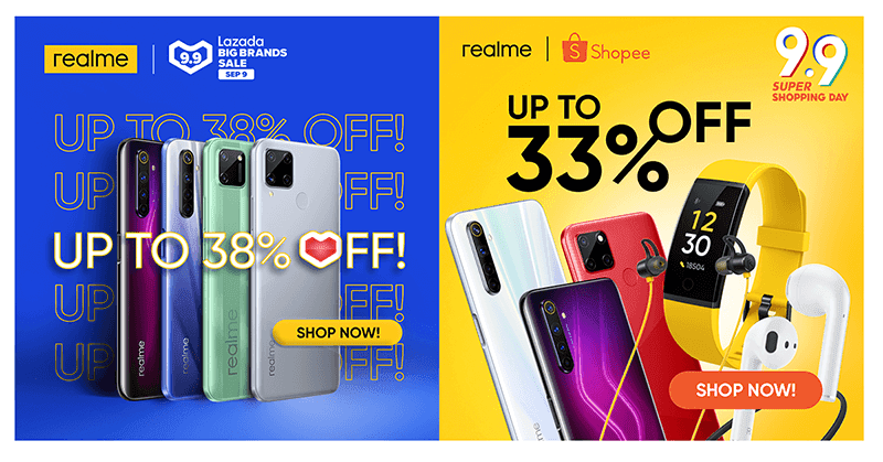 realme offers up to 38 percent off this Shopee, Lazada 9.9 sale!