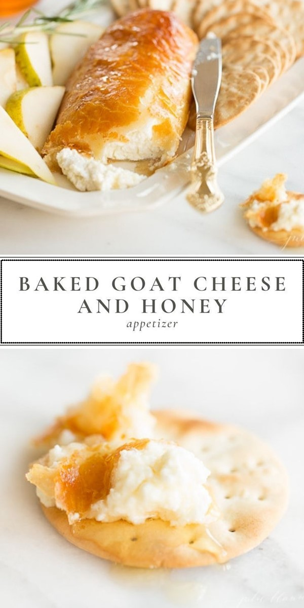 Easy Baked Goat Cheese and Honey Appetizer #appetizerrecipes