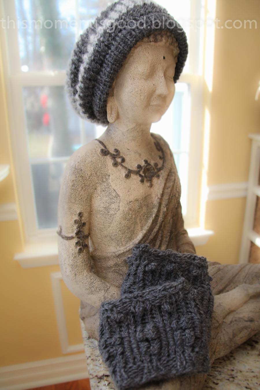 LOOM KNIT STRIPED SLOUCH HAT | Loom Knitting by This Moment is Good!