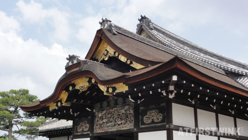 Ninomaru palace close up roof sideways nijo castle kyoto japan
