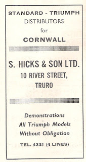 S Hicks & Son Ltd, Truro Motor 8January1964