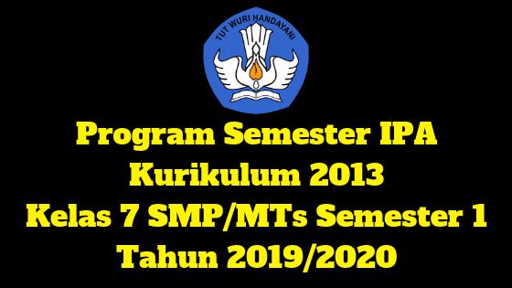 Program Semester IPA Kurikulum 2013 Kelas 7 SMP/MTs Semester 1 Tahun 2019/2020 - Mutu SMPN