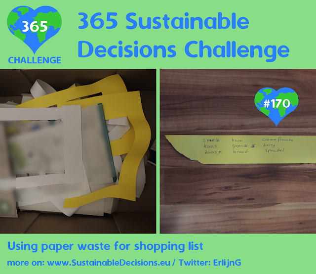 Using paper waste for shopping list reducing waste
