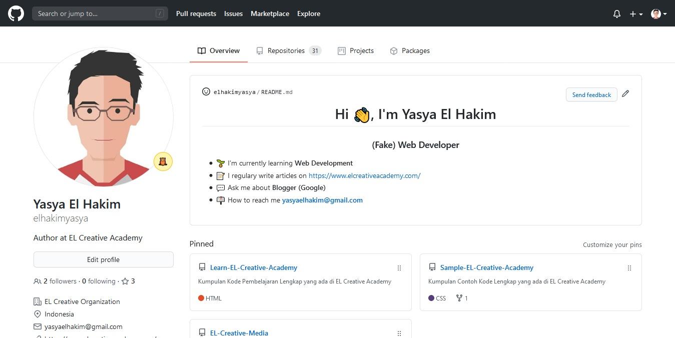 tampilan simple dari profil GitHub saya