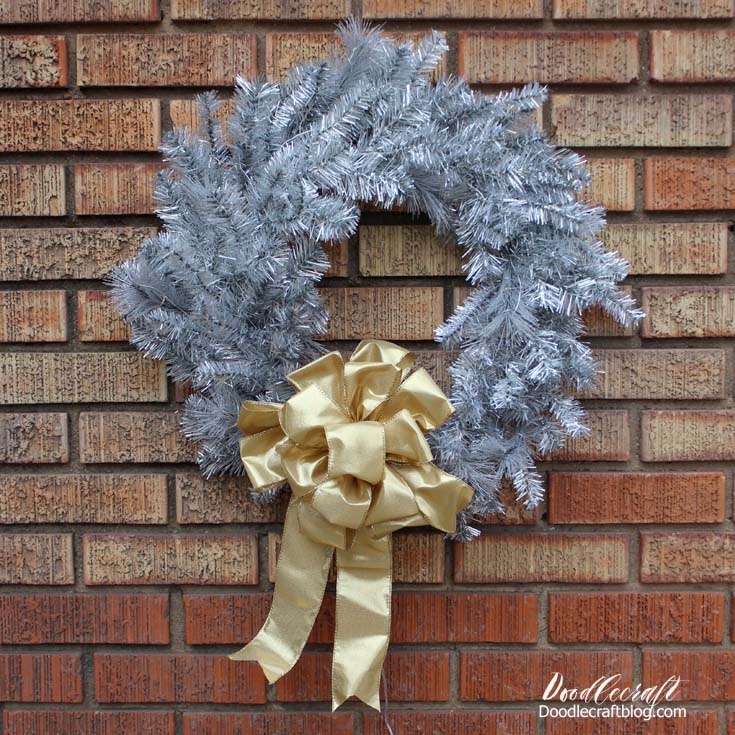 Silver Tinsel Wreath With Solar Lights Diy