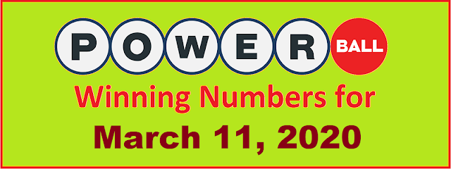 PowerBall Winning Numbers for Wednesday, March 11, 2020