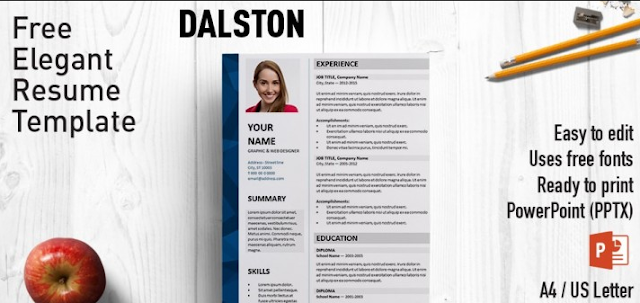 Contoh CV template PPT yang ketiga adalah Dalston Elegant