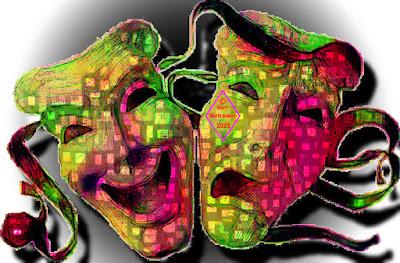 Zwei Theatermasken, etwas verfremdet dargestellt. Das lachende Gesicht und das weinende Gesicht.