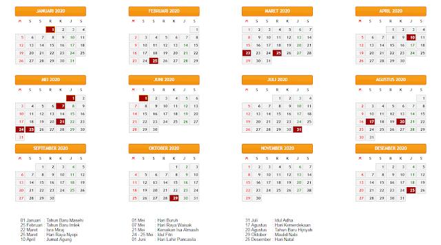 Kalender Hari Libur Nasional Indonesia 2020