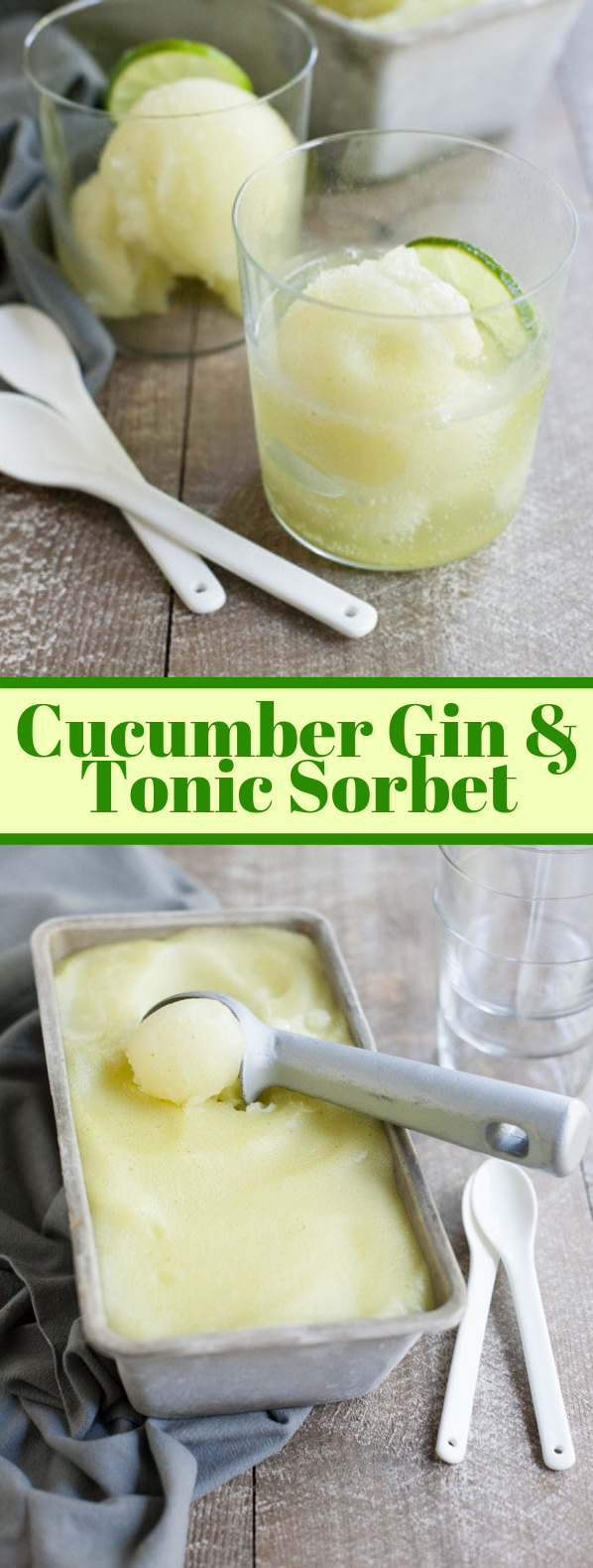 CUCUMBER GIN AND TONIC SORBET #drink #icycocktail