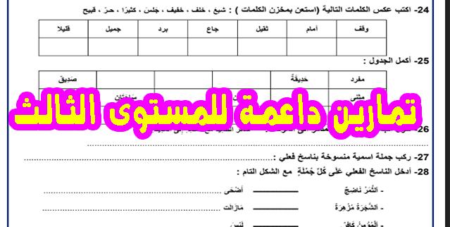 تمارين داعمة للمستوى الثالث مادة اللغة العربية