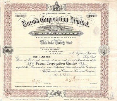 share certificate from the Burma Corporation Limited