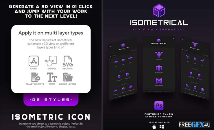 Isometrical 3D View Generator Photoshop Plugin