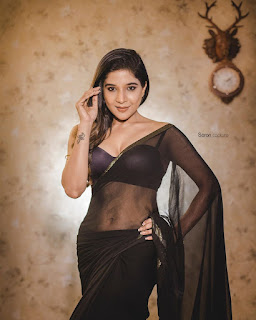Sakshi Agarwal in Lovely Sleevless Black Choli and Jari Border Transparent Saree