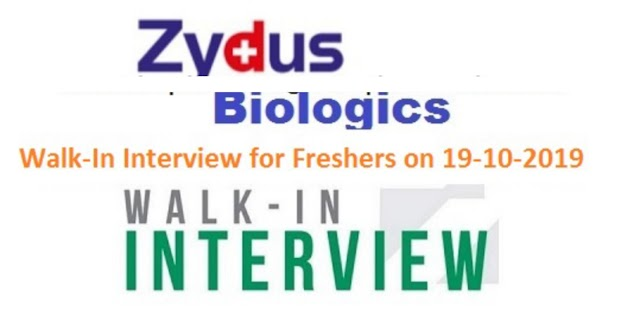 Zydus Biologics - Walk-In Interview for Freshers on 19th Oct' 2019