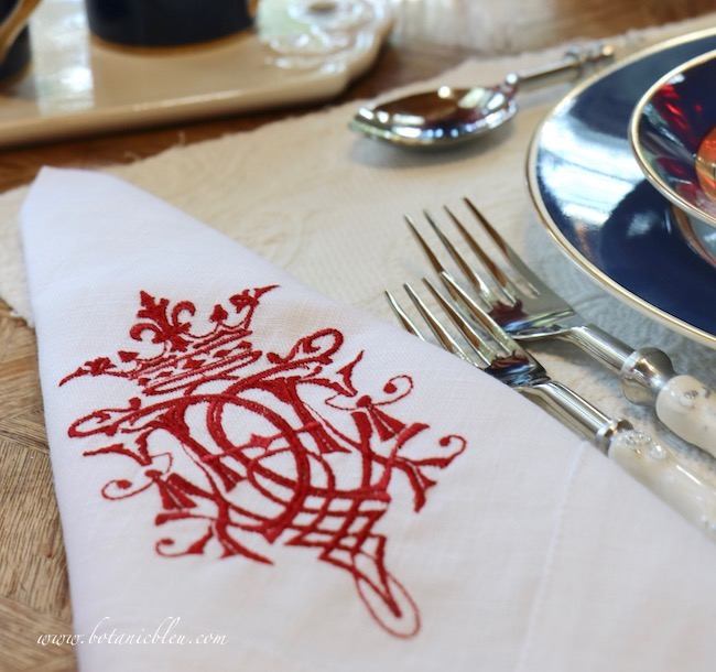 Labor Day patriotic French Country table setting red crest napkins can be used for all patriotic holidays