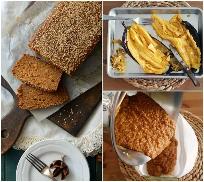 Elaboración de la torta bejarana venezolana, hecha a partir de ingredientes y sabores recurrentes en la cocina nacional: plátanos maduros, queso, papelón, especias, y ajonjoli