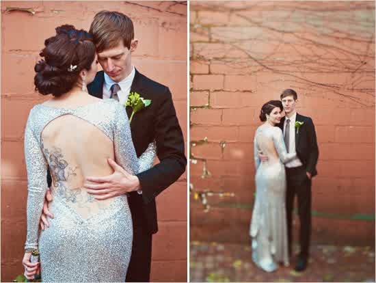 Silver Sequin Open Back Wedding Dress