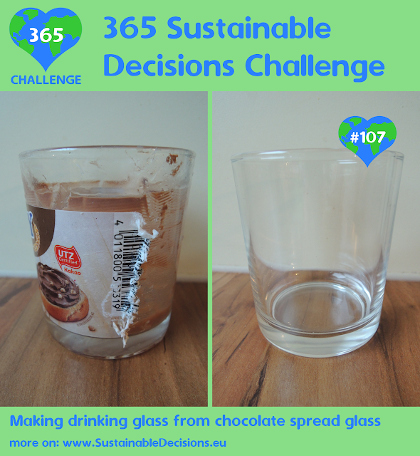 Making drinking glass from chocolate spread glass reducing waste