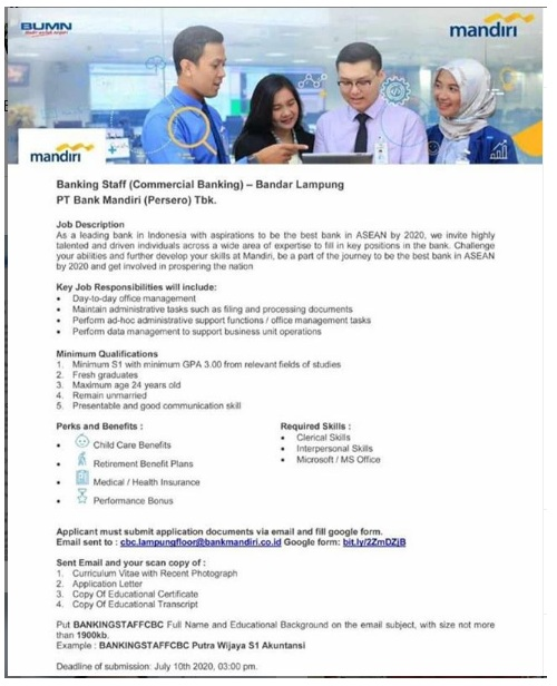 Lowongan Kerja BUMN Banking Staff PT Bank Mandiri (Persero) Juli 2020
