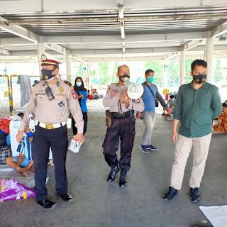 Polres Pelabuhan Makassar Ajak Patuhi Penerapan Protokol Kesehatan di Terminal Penumpang Kapal