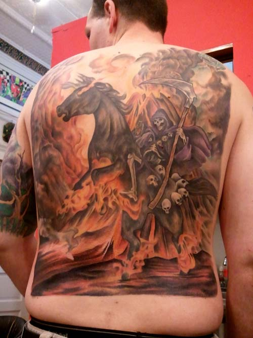 grim reaper tattoos on back azrail dövmeleri