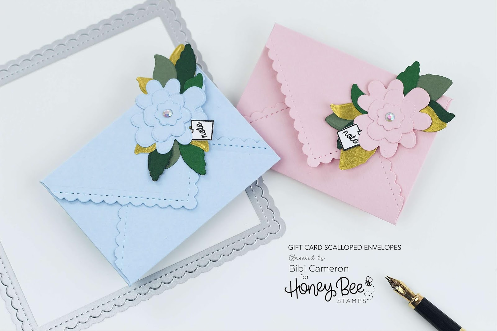 mini scalloped envelopes with stitched scallop square dies by honey