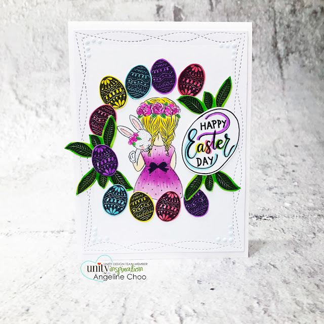ScrappyScrappy: New Releases with Unity Stamp - A Girl.A Bunny #scrappyscrappy #unitystampco #quicktipvideo #youtube #card #cardmaking #stamping #papercrafting #handmadecard #agirlabunny #easteregg #eastereggwreath #happyeasterday #zigcleancolor #ginamariedesignsdie #copicmarkers #eastercard