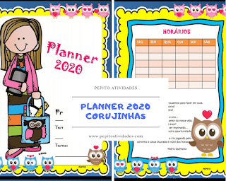 Planner 2020 para professores Tema Corujinhas