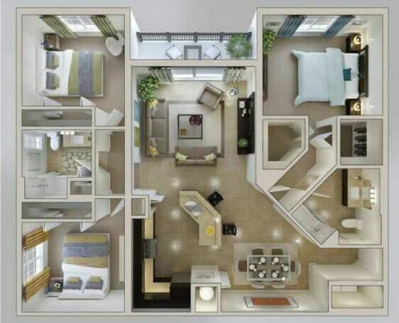 Denah Rumah Minimalis type 45 3 Kamar 3d