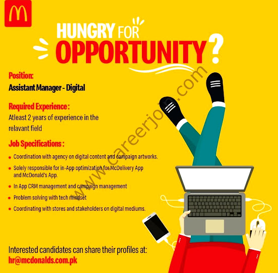 Latest McDonald's Pakistan New Jobs for Assistant Manager -Digital 2021