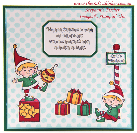#thecraftythinker #stampinup #cardmaking #elfie #basicpatterndecorativemasks #xmas card #christmascard , #Eflie, Basic Pattern Decorative Masks, Christmas Card, Stampin' Up Demonstrator, Stephanie Fischer, Sydney NSW