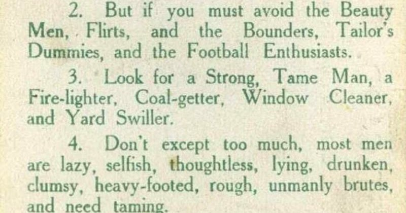 Marriage Advice for Young Ladies From a Suffragette, Includes Avoiding Flirts, Tailor's Dummies and Football Enthusiasts