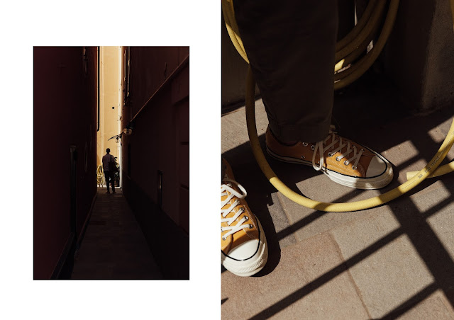 cornflower yellow converse 70s in shadows and natural light