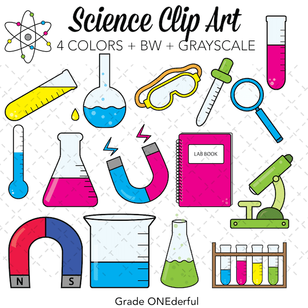 Science Clip Art in  4 colours plus black and white, and grayscale