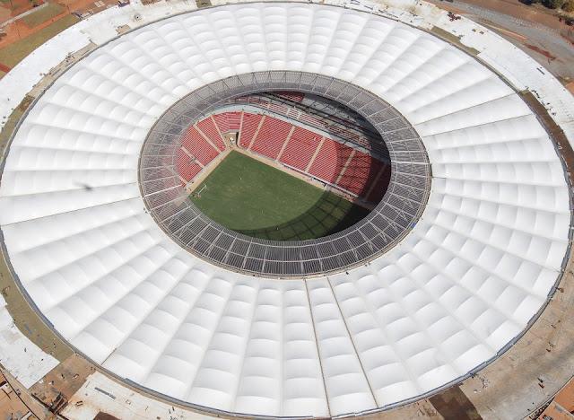 Fotos aéreas do estádio de Brasília
