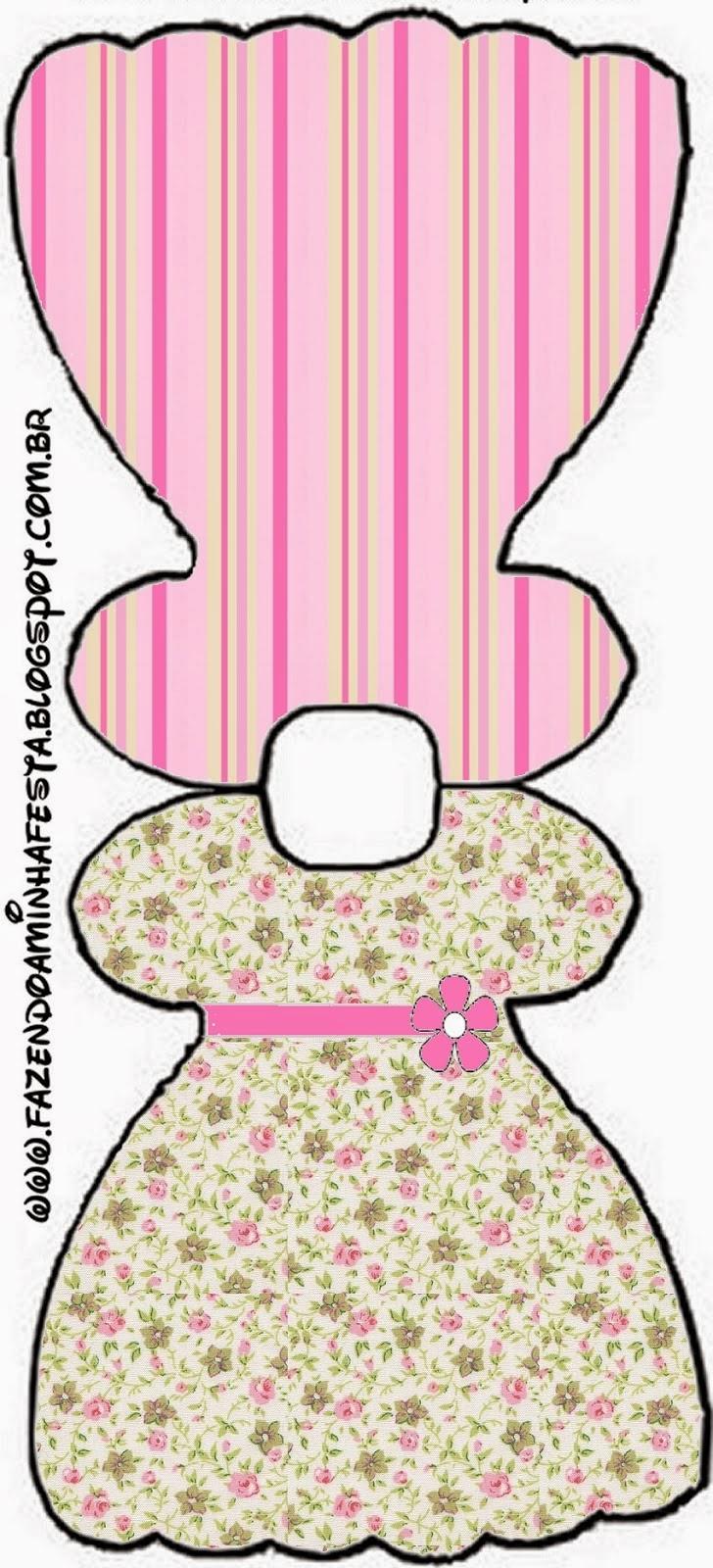 Tarjeta con forma de Vestido de Shabby Chic Rosa y Amarillo.