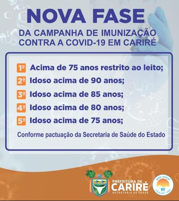 Cariré divulga a nova fase da Campanha de Imunização Contra a Covid-19 conforme pactuação