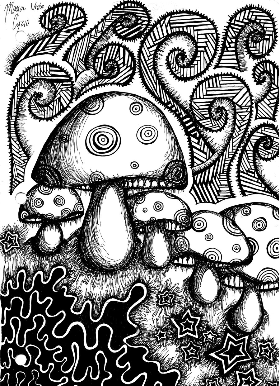 trippy mushroom coloring pages - photo#2
