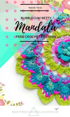 flower floral large mandala doily pattern crochet free boho hippie blue