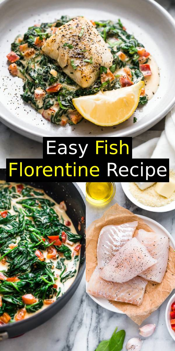 This Easy Fish Florentine recipe, made with a pan seared firm white fish served on a creamy bed of spinach feels like something you would order out in a fancy restaurant! #seafood #fish #dinner #maindish #dinnerrecipe #fishrecipe