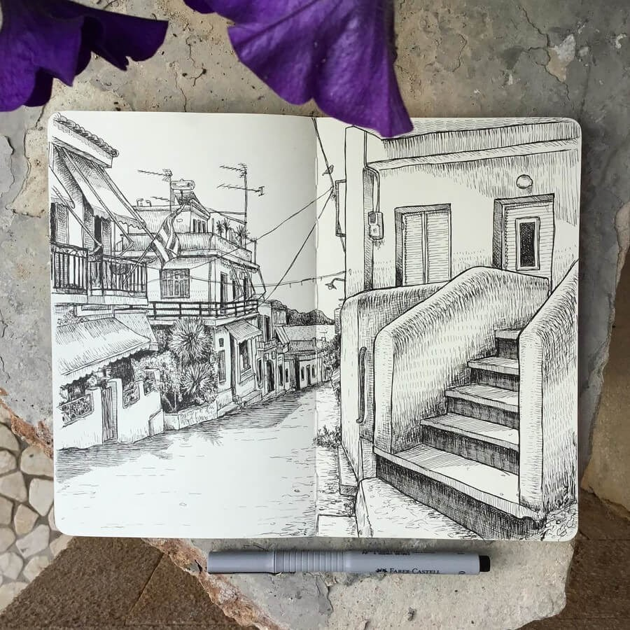 11-Aegina-Town-Greece-2-Keir-Ross-Urban-Travel-Sketcher-www-designstack-co