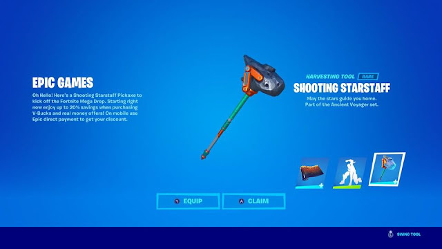 Fortnite Mega Drop Shooting Starstaff Pickaxe Epic Games Nintendo Switch