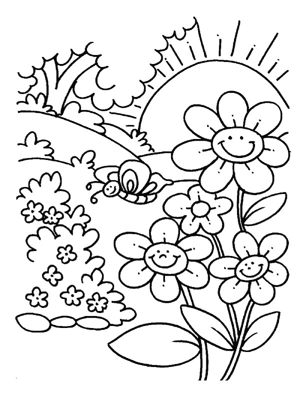 Flower coloring page spring flower coloring pages for Coloring pages spring flowers